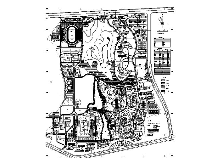 大学新校区总图详细规划设计(CAD)