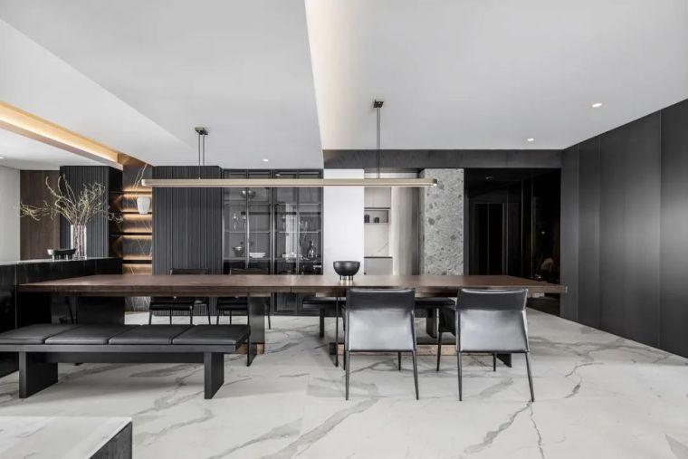 大理石+木格栅,中性灰大平层,简雅舒适