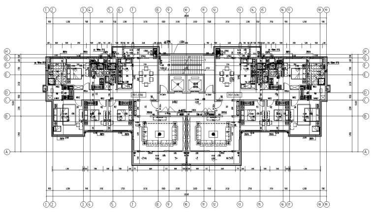 新亚洲风格保利户型1梯2户户型图设计-2018