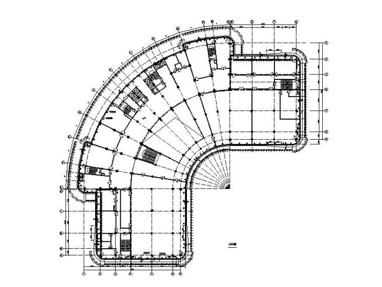 研发中心管理大楼幕墙图纸_半隐框玻璃幕墙-幕墙二层平面图