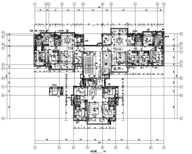 新亚洲风格保利户型1梯3户型图设计