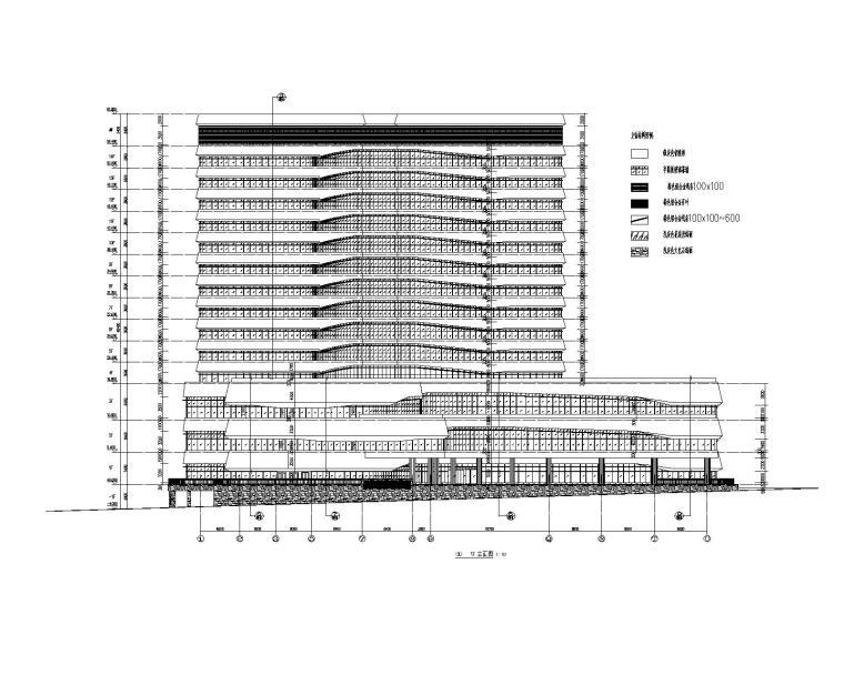 研发中心管理大楼幕墙图纸_半隐框玻璃幕墙-研发中心大楼幕墙立面图