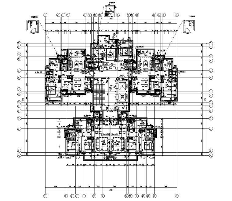 新亚洲风格保利户型1梯5户户型图设计
