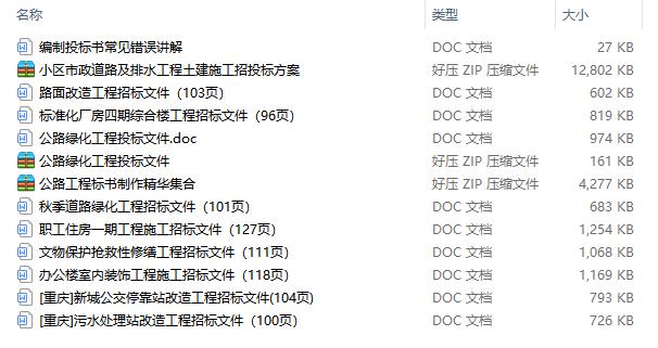 13个工程招投标文件范文合集