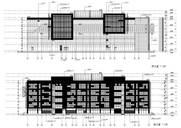 建筑西,东立面图