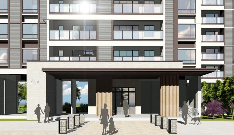 现代风知名地产户型140-140-115㎡户型建筑模型 (3)