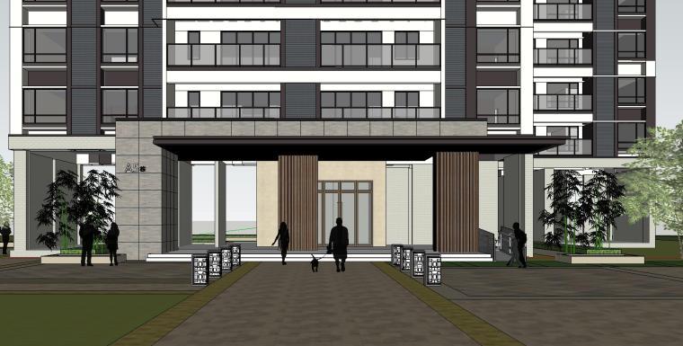 现代风知名地产户型140-140-115㎡户型建筑模型 (6)