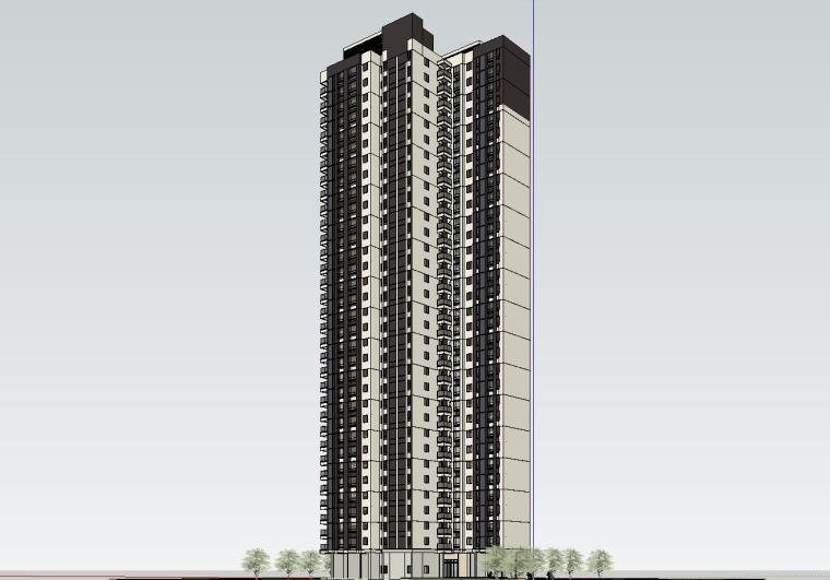 现代风知名地产户型140-140-115㎡户型建筑模型 (5)