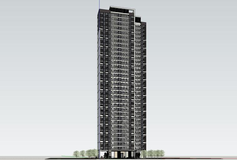 现代风知名地产户型140-140-115㎡户型建筑模型 (4)