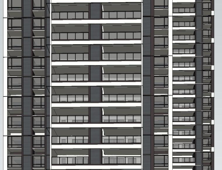 现代风知名地产户型140-140-115㎡户型建筑模型 (7)