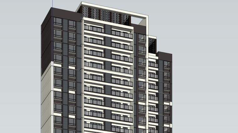 现代风知名地产户型140-140-115㎡户型建筑模型 (8)