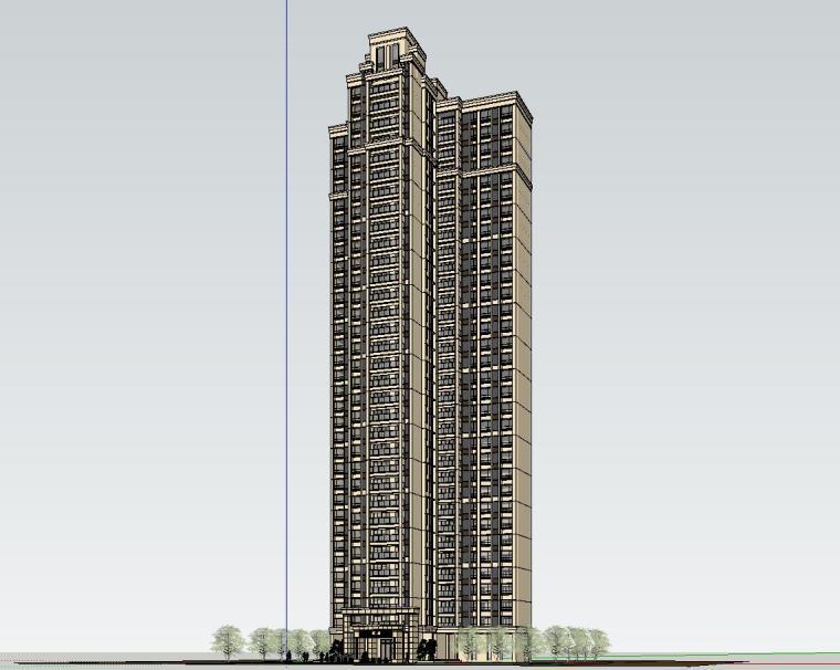 新古典风格知名地产户型1梯3户建筑模型设计 (2)