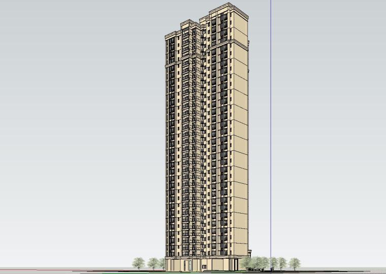 新古典风格知名地产户型1梯3户建筑模型设计 (3)