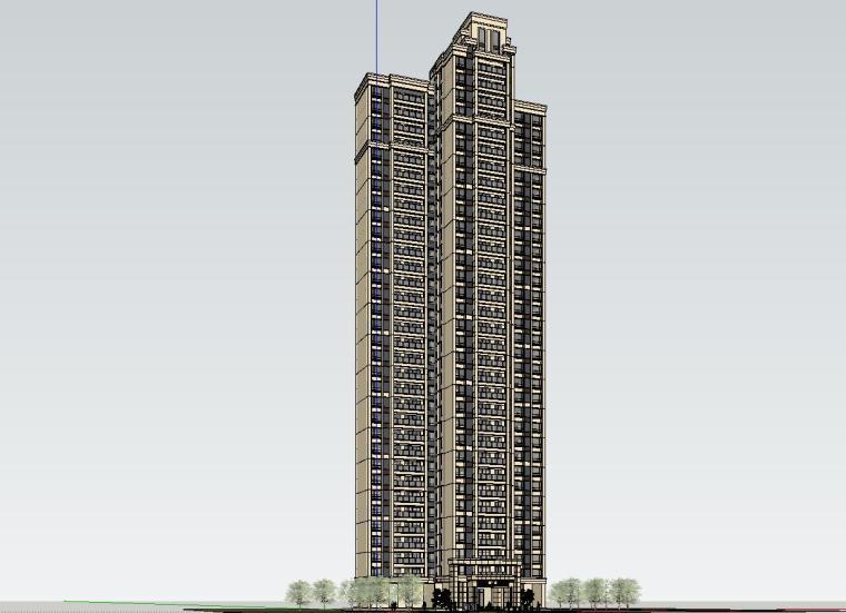 新古典风格知名地产户型1梯3户建筑模型设计 (1)