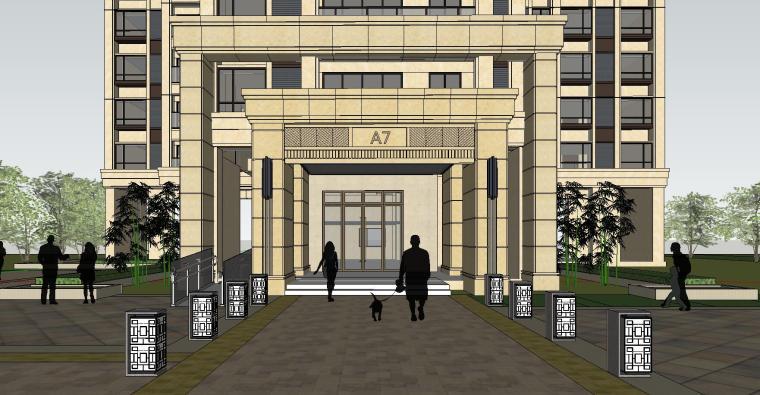 新古典风格知名地产户型1梯3户建筑模型设计 (4)