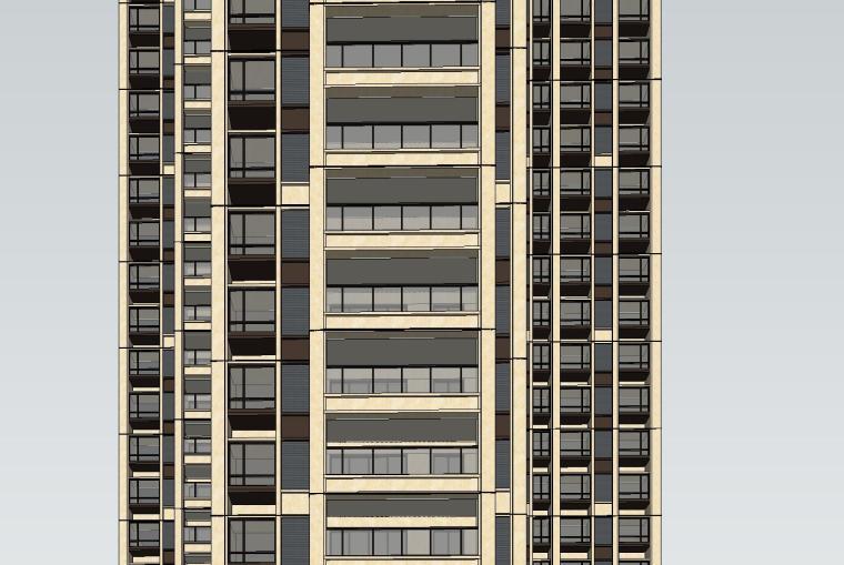 新古典风格知名地产户型1梯3户建筑模型设计 (5)