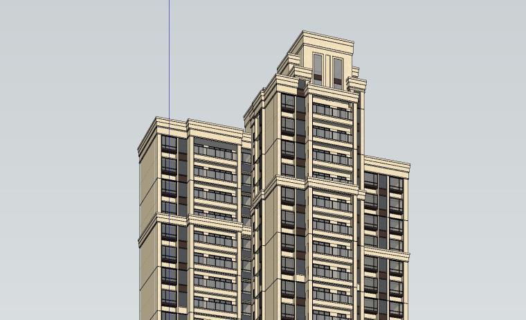 新古典风格知名地产户型1梯3户建筑模型设计 (6)