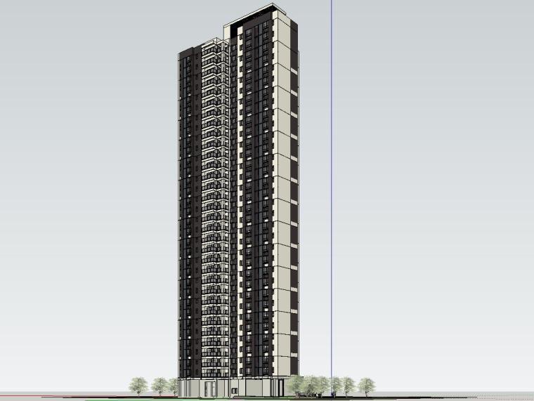 现代风格知名地产1梯3户建筑模型设计-现代风格知名地产户型1梯3户建筑模型设计 (2)