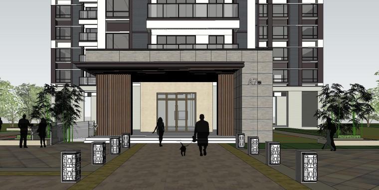 现代风格知名地产1梯3户建筑模型设计-现代风格知名地产户型1梯3户建筑模型设计 (3)