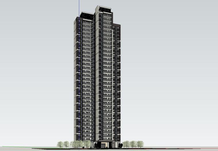 现代风格知名地产1梯3户建筑模型设计-现代风格知名地产户型1梯3户建筑模型设计 (1)