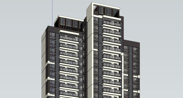现代风格知名地产1梯3户建筑模型设计-现代风格知名地产户型1梯3户建筑模型设计 (5)