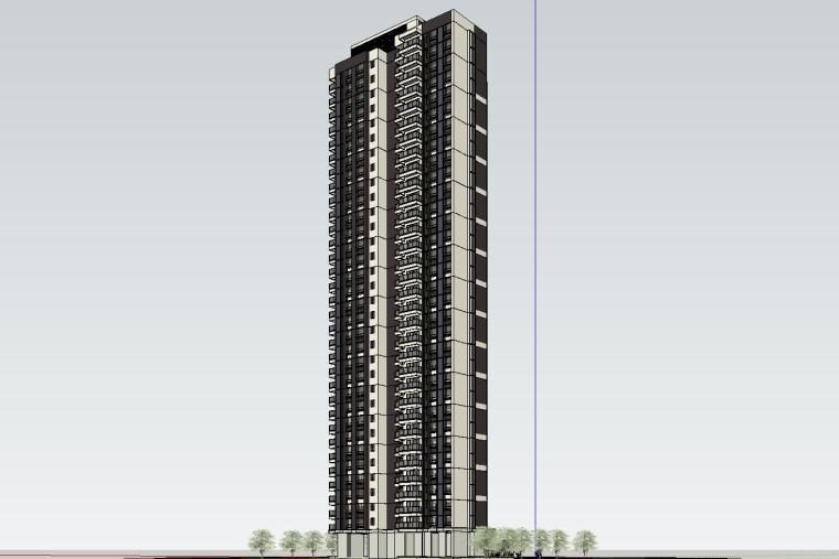 现代风格知名地产140㎡户型住宅建筑模型设计 (3)