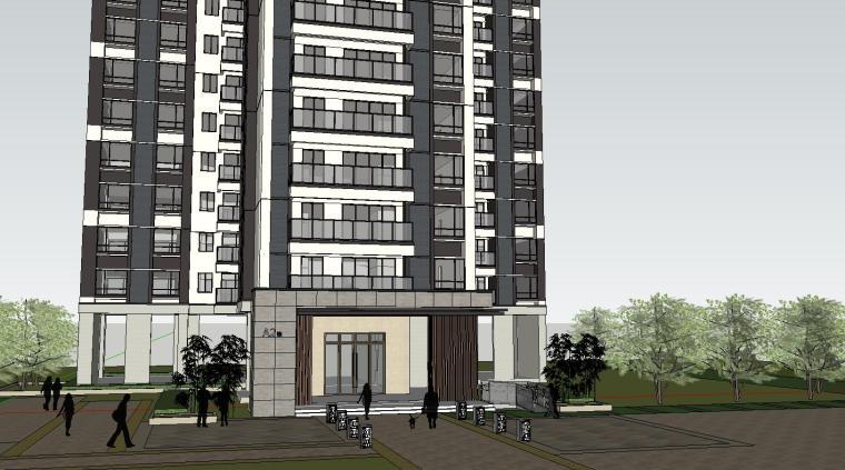 现代风格知名地产140㎡户型住宅建筑模型设计 (2)