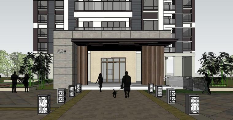 现代风格知名地产140㎡户型住宅建筑模型设计 (1)