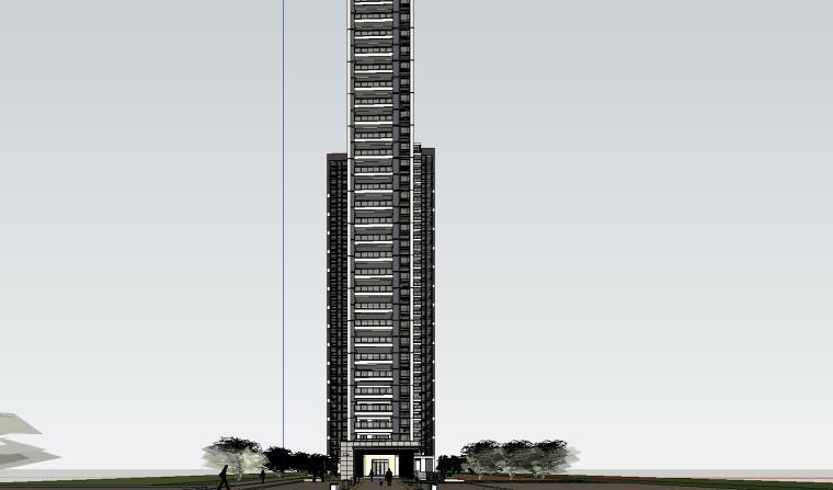 现代风格知名地产140㎡户型住宅建筑模型设计 (4)