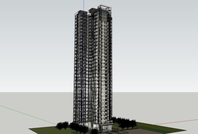 现代风格知名地产140㎡户型住宅建筑模型设计 (5)