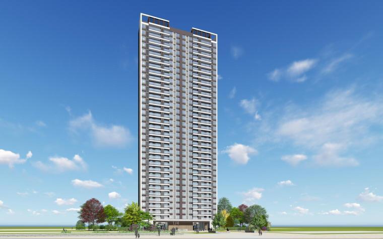 现代风格知名地产1梯5户住宅建筑模型设计-现代风格知名地产户型1梯5户住宅建筑模型设计 (1)