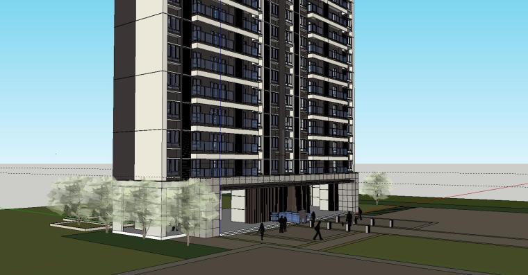现代风格知名地产1梯5户住宅建筑模型设计-现代风格知名地产户型1梯5户住宅建筑模型设计 (6)