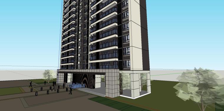 现代风格知名地产1梯5户住宅建筑模型设计-现代风格知名地产户型1梯5户住宅建筑模型设计 (7)