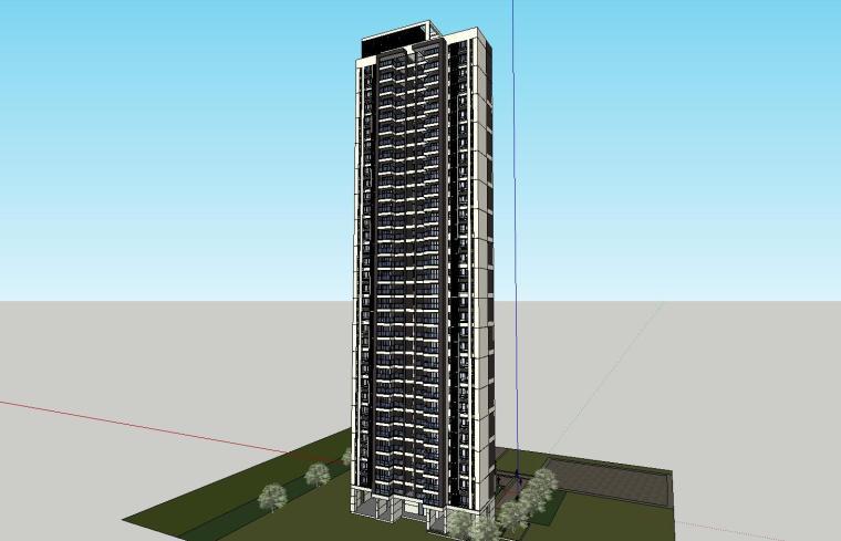 现代风格知名地产户型120-110-90㎡住宅建筑模型 (4)