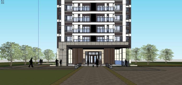 现代风格知名地产户型120-110-90㎡住宅建筑模型 (6)