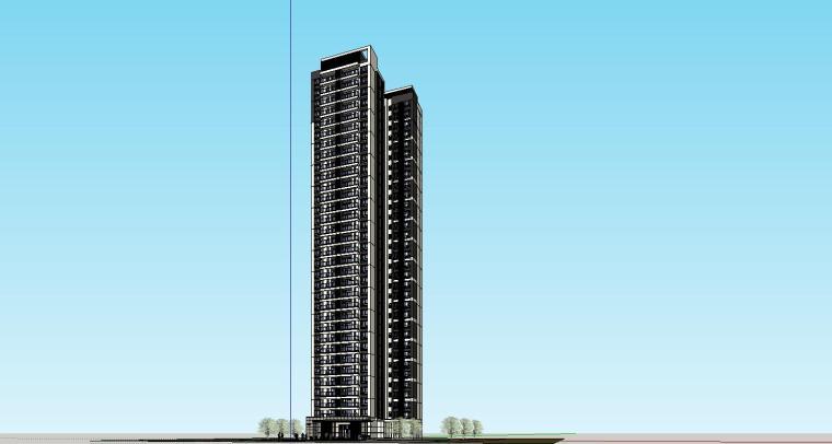 现代风格知名地产户型120-110-90㎡住宅建筑模型 (5)