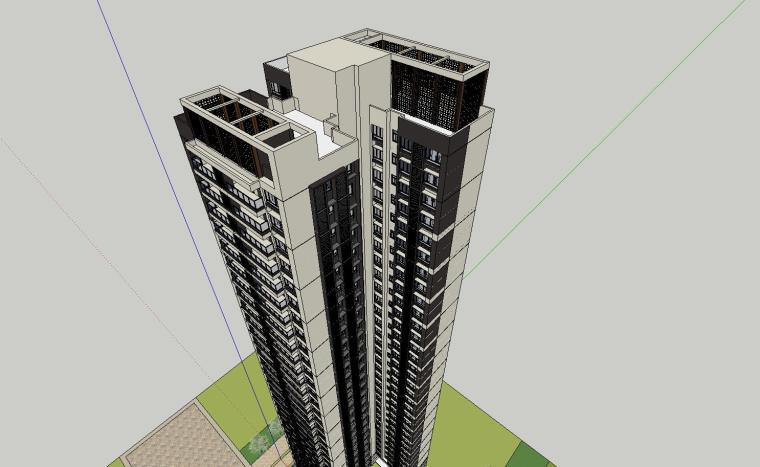 现代风格知名地产户型120-110-90㎡住宅建筑模型 (3)