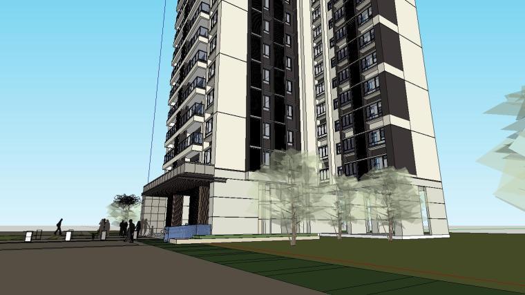 现代风格知名地产户型120-110-90㎡住宅建筑模型 (7)