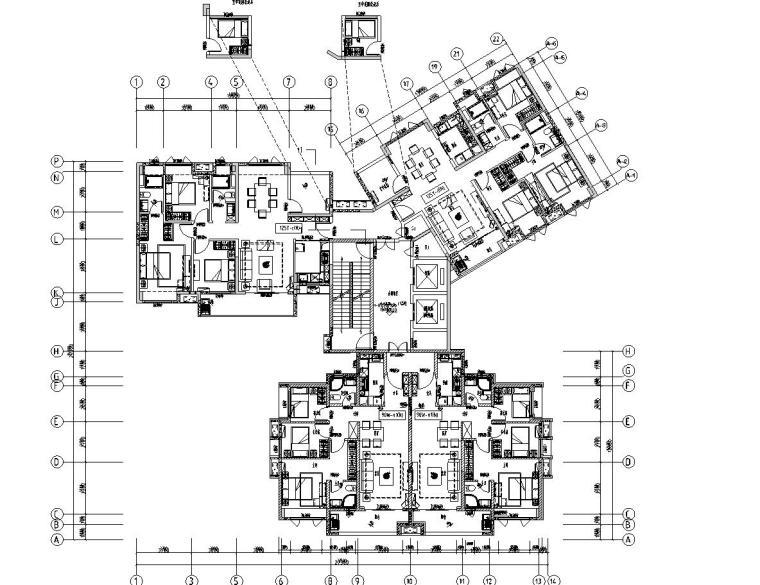 现代风格保利户型1梯3户型图设计