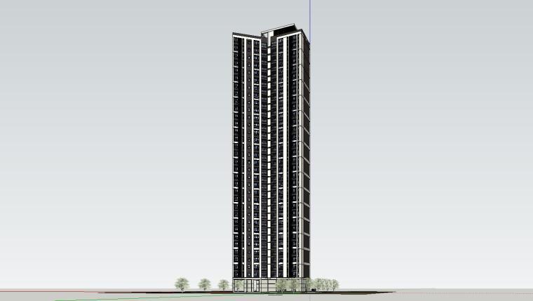 现代风格保利户型1梯3住宅建筑模型设计