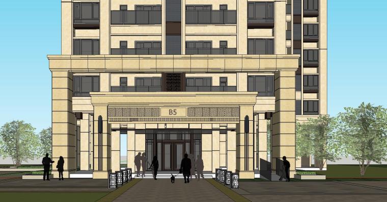 新古典风格保利户型1梯2户建筑模型设计