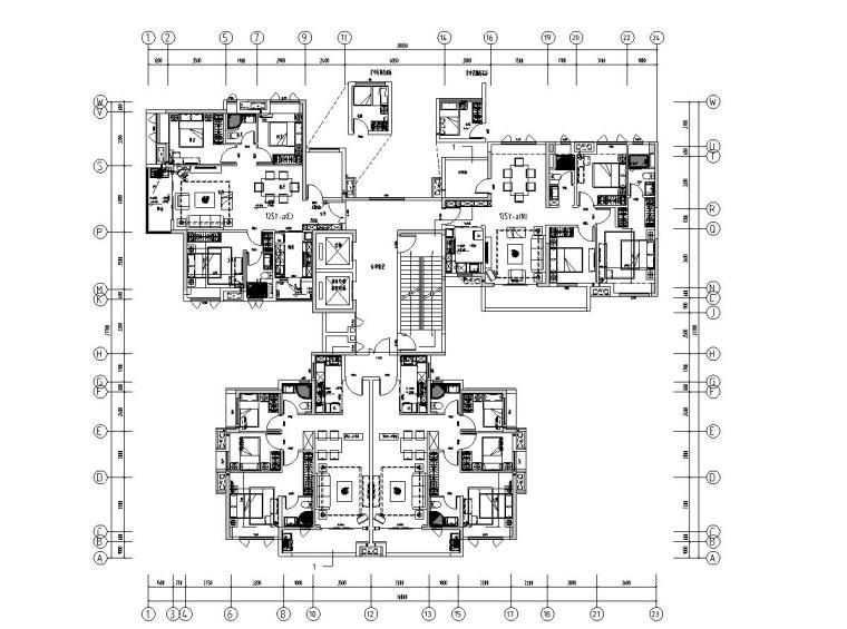 现代风格保利户型1梯2户型图设计-2018年