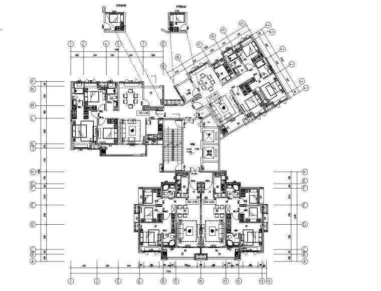 新古典风格保利户型1梯3户型图设计