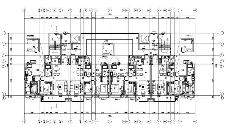 现代风格保利户型1梯5户户型图设计