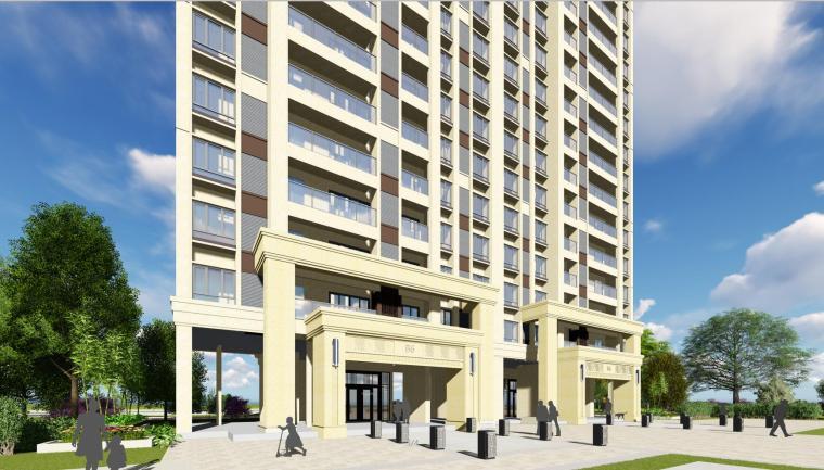 新古典风格知名地产1梯5户住宅建筑模型设计-新古典风格知名地产户型1梯5户住宅建筑模型设计 (3)