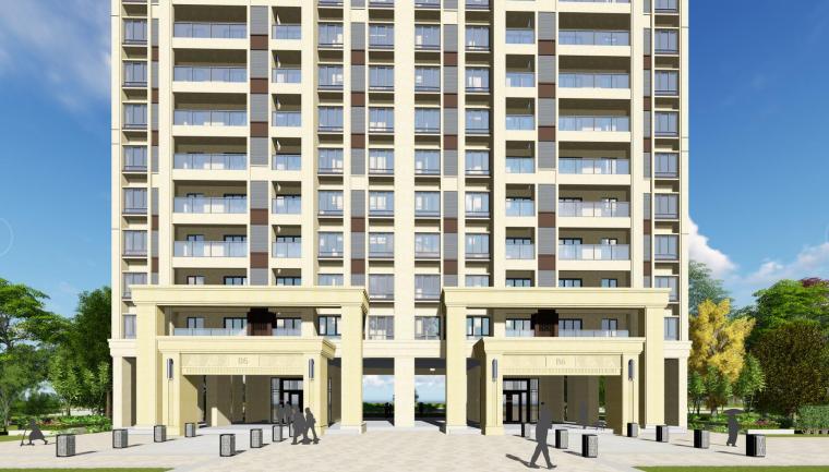 新古典风格知名地产1梯5户住宅建筑模型设计-新古典风格知名地产户型1梯5户住宅建筑模型设计 (2)