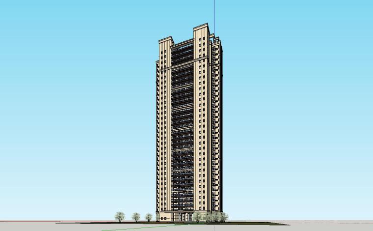 新古典风格知名地产1梯5户住宅建筑模型设计-新古典风格知名地产户型1梯5户住宅建筑模型设计 (4)