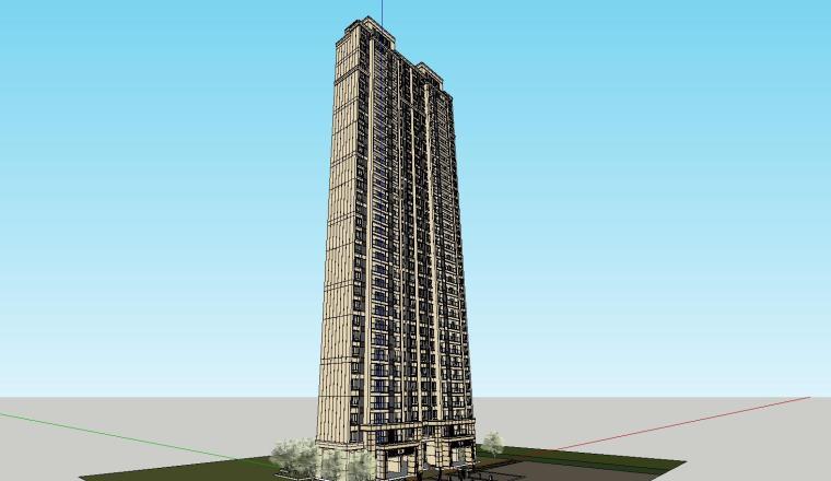 新古典风格知名地产1梯5户住宅建筑模型设计-新古典风格知名地产户型1梯5户住宅建筑模型设计 (5)