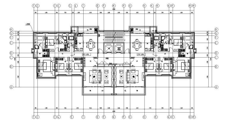 现代风格保利户型1梯2户210㎡户型图设计
