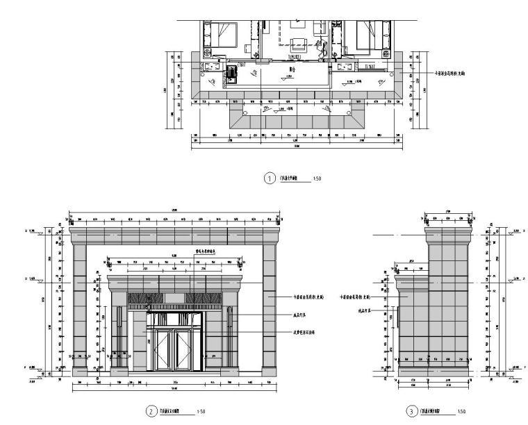 新古典风格大堂放大详图设计